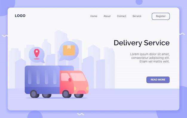 Servizio di distribuzione con il concetto di campagna della scatola di spedizione del magazzino del camion per l'atterraggio del modello del sito web o il sito web di home page illustrazione piana moderna di stile del fumetto.