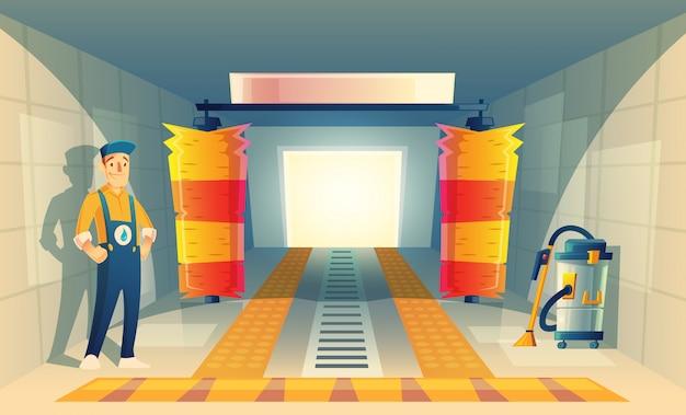 Servizio di lavaggio auto automatico con personaggio dei cartoni animati in scatola, garage.