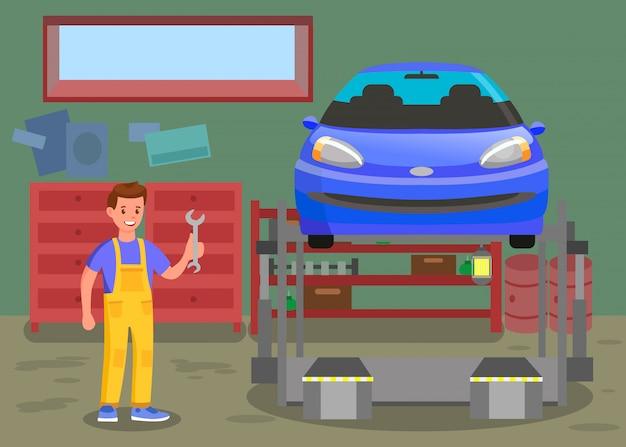 Servizio di manutenzione dell'automobile, illustrazione dell'officina