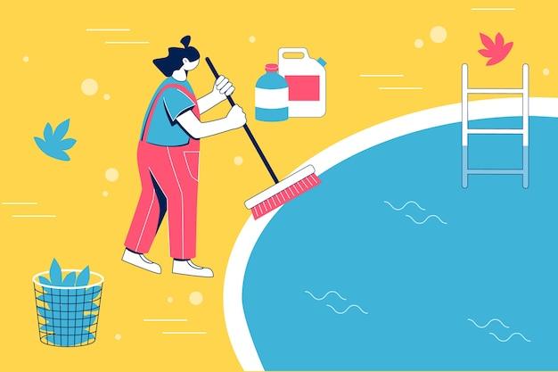Servizio di manutenzione della piscina. piscina pulita della donna con la spazzola.