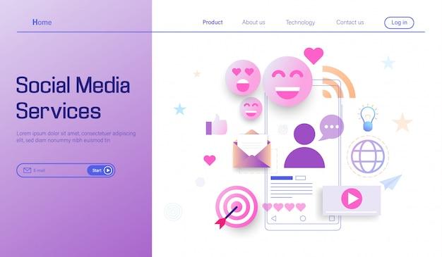 Servizio di media sociali e concetto di servizi online