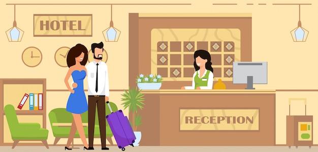 Servizio di prenotazione e alloggio fumetto piatto.