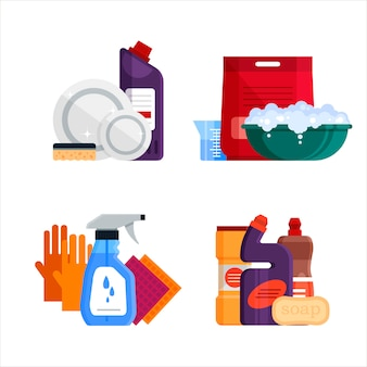 Servizio di pulizia. metta gli strumenti di pulizia della casa su fondo bianco. prodotti detergenti e disinfettanti per il bucato, il lavaggio di finestre e servizi igienici, bagni, attrezzature domestiche - illustrazione piatta