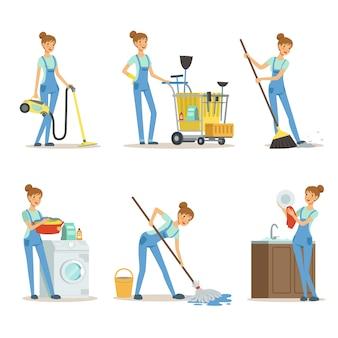 Servizio di pulizia professionale il pulitore della donna fa alcuni lavori di casa