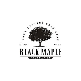 Servizio di quercia maple tree. design del logo vintage paesaggio residenziale