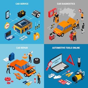 Servizio di riparazione dell'automobile e insieme dell'illustrazione di concetto di manutenzione con isometrico degli elementi di riparazione isolato.