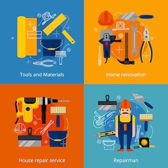 Servizio di riparazione e set di icone di ristrutturazione