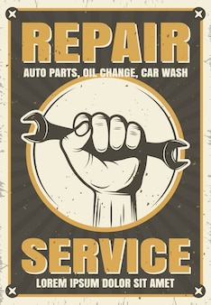 Servizio di riparazione poster in stile retrò