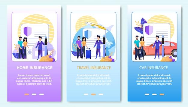 Servizio di supporto assicurativo online. set di pagine di destinazione mobile