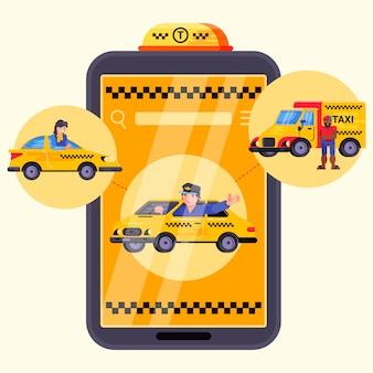 Servizio di taxi mobile dell'automobile della città di app, illustrazione. autista vicino alla cabina nell'applicazione, ordine auto online su smartphone passeggeri