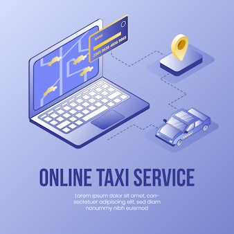 Servizio di taxi online. concetto di design isometrico digitale
