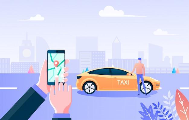 Servizio di taxi. passi lo smartphone della tenuta e il taxi o la carrozza gialli sulla strada e sul fondo urbano della città, il servizio di trasporto, il veicolo per affitto, il taxi afferrante turistico con il concetto dello smartphone.