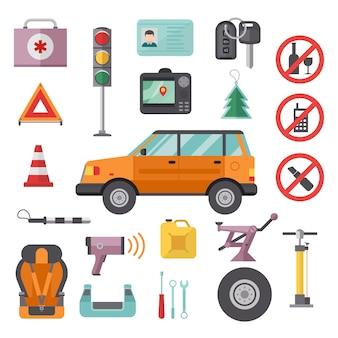 Servizio di trasporto auto e icone di strumenti di auto alto set dettagliato.