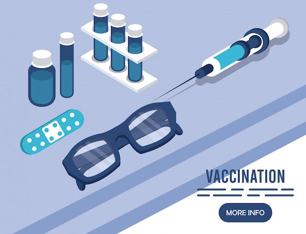 Servizio di vaccinazione con icone isometriche di iniezione