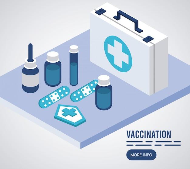 Servizio di vaccinazione con icone isometriche kit medico