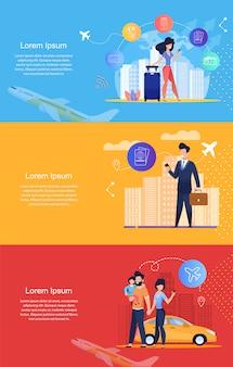 Servizio di viaggio online. servizio di passaporto online. modello di banner