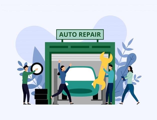 Servizio e riparazione dell'automobile, lavoratori che riparano automobile, illustrazione di vettore di concetto di affari