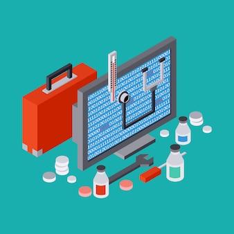 Servizio informatico, riparazione, supporto tecnico, illustrazione 3d isometrica piana di concetto di vettore del pronto soccorso