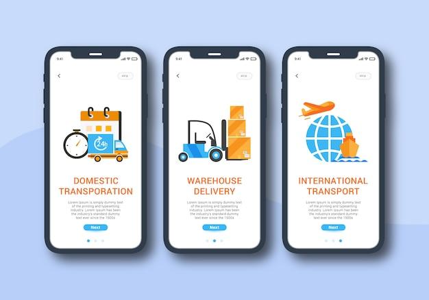 Servizio logistico set di interfaccia utente mobile schermo onboarding