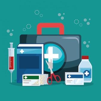 Servizio medico imposta icone