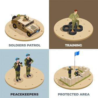 Servizio militare 4 set di icone isometriche