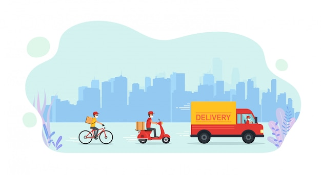 Servizio online di consegna merci a domicilio in camion, scooter, biciclette.