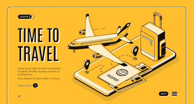 Servizio online, mobile app per viaggiatori e turisti banner web vettoriale isometrica