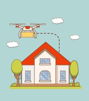 Servizio per la consegna di merci tramite droni aerei sulla casa.