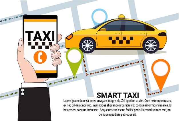 Servizio smart taxi di ordine di cabina online con app per smartphone