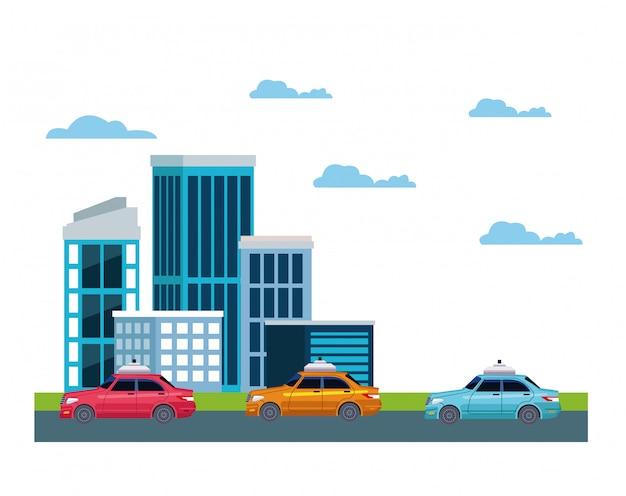 Servizio taxi in icona di paesaggio urbano