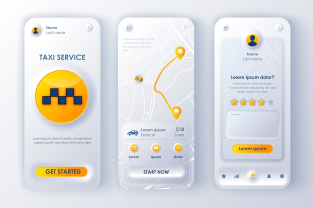 Servizio taxi neomorphic ui ux kit servizio taxi stile neomorfismo unico.