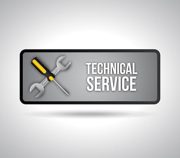 Servizio tecnico sopra illustrazione vettoriale sfondo grigio