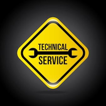 Servizio tecnico su sfondo nero illustrazione vettoriale