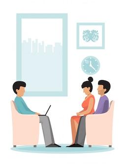 Sessione di psicoterapia psicologa con la famiglia. psicoterapeuta professionista con sessione. famiglia che parla di problemi matrimoniali.