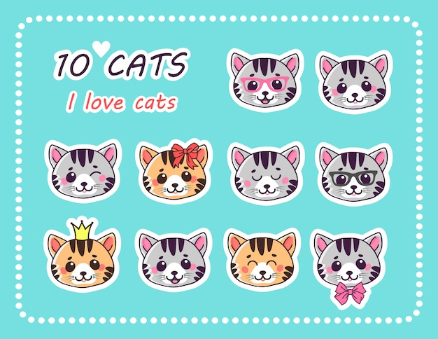 Set 10 adesivi gatti con diverse emozioni.