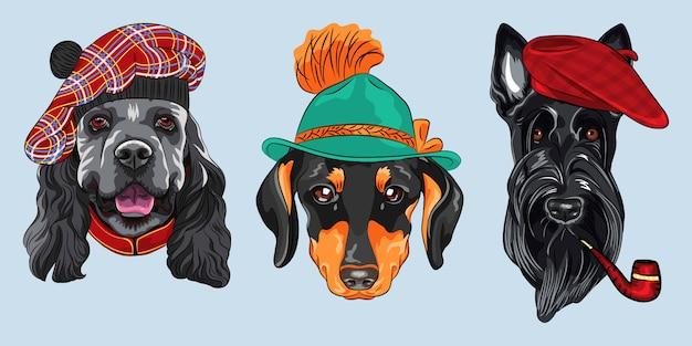 Set 2 cani hipster dei cartoni animati