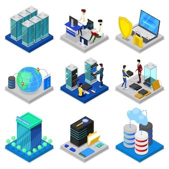 Set 3d isometrico del data center