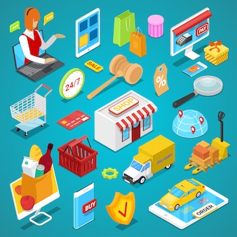 Set 3d isometrico di shopping online
