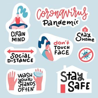 Set adesivi di prevenzione del coronavirus covid-19. pacchetto disegnato a mano con scritte come proteggersi: lavarsi le mani, evitare di toccare il viso, rimanere a casa. distintivi di cartone animato con virgolette.