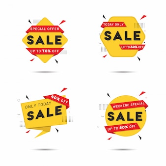 Set adesivi in vendita in giallo e rosso con diverse offerte di sconto