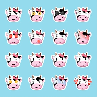 Set adesivi mucca carina