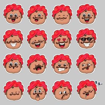 Set adesivi viso zio indiano
