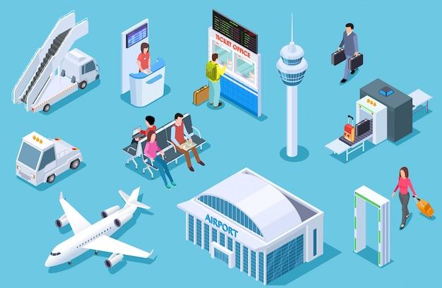 Set aeroporto isometrico