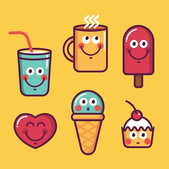 Set alla moda di cibo fresco, gelato kawaii, cuore, coppa, dolce