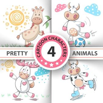 Set animali dei cartoni animati