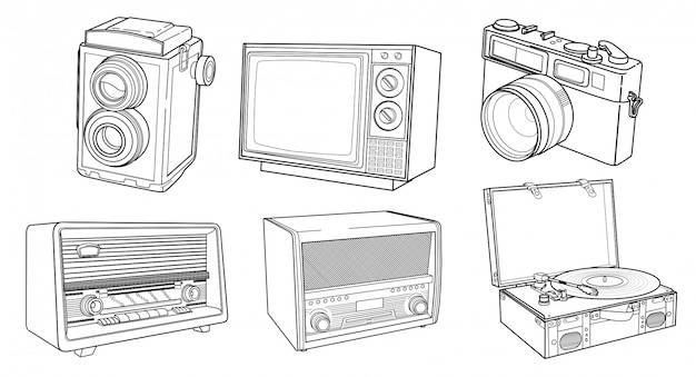 Set art linea dettagliata dispositivo vintage