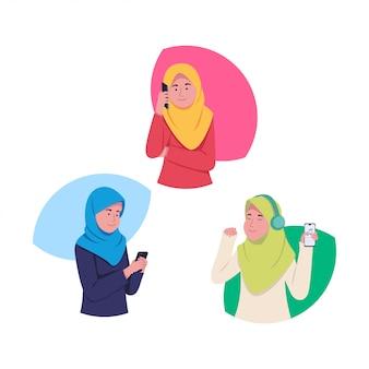 Set attraente giovane ragazza hijab con smartphone