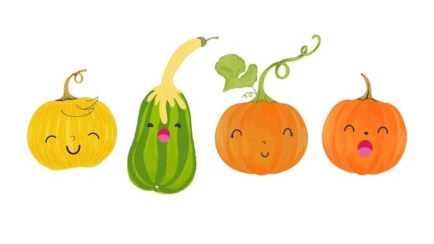 Set autunno di zucca carina