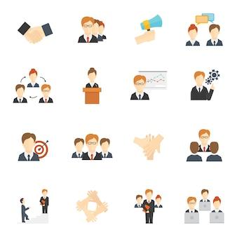 Set avatar di lavoro di squadra stile piatto