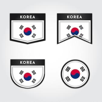 Set bandiera della corea con etichette